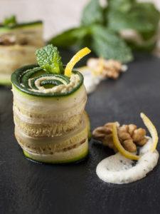 involtini zucchina hummus cannellini avocado