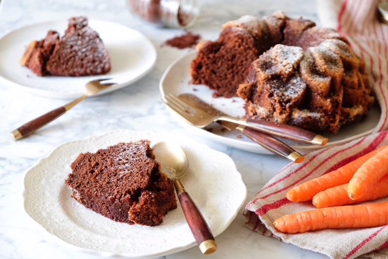 torta di carote e cacao